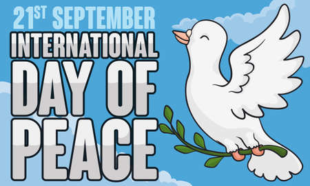 Commemorative banner for International Day of Peace with happy white dove flying in the sky holding an olive branch. Illustration
