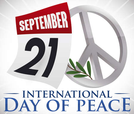 Loose-leaf calendar with reminder date for International Peace Day with silver peace symbol and olive branch. Illustration