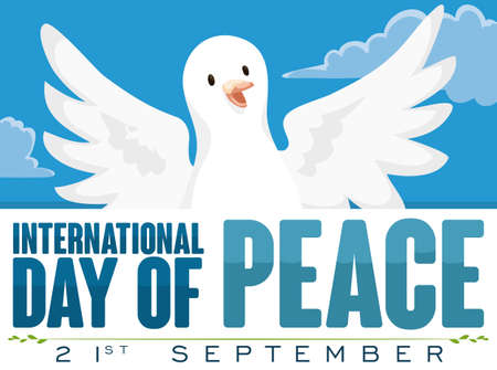 Poster with happy white dove flying in the sky and greeting label to commemorate International Day of Peace celebration. Illustration