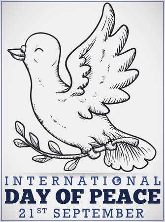 Poster with smiling hand drawn peace dove holding a olive branch to celebrate International Day of Peace.
