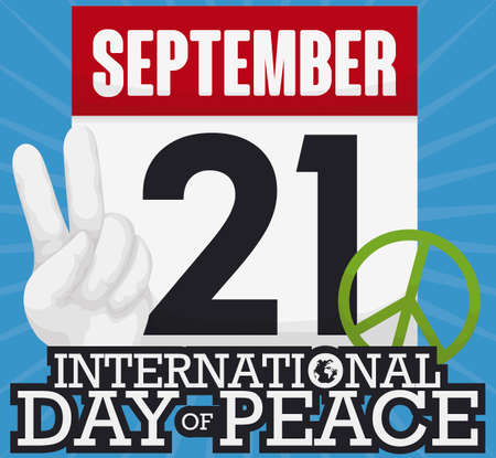 Loose-leaf calendar with reminder date for International Day of Peace and elements to celebrate it: peace gesture and green symbol.