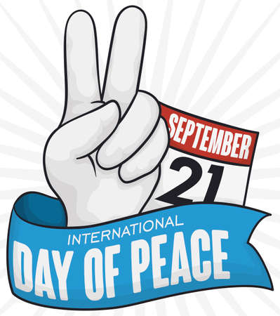 Hand doing the peace gesture, calendar with reminder date and ribbon to commemorate International Day of Peace in September 21.