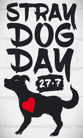Wall with commemorative design in brush stroke style with a dog and a heart, commemorating Stray Dog Day and promoting for the care of abandoned pets in July 27. Ilustração