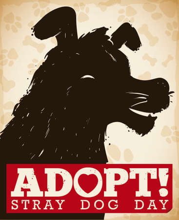 Commemorative poster with dog head silhouette and awareness message for street dog adoption during Stray Dog Day. Ilustração
