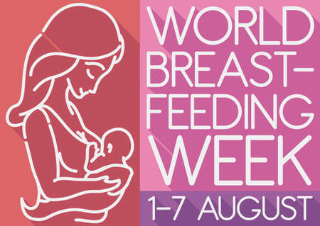 Commemorative poster in flat style and long shadow with mother and baby silhouette promoting World Breastfeeding Week this 1-7 August.