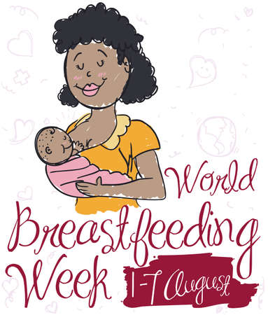 Commemorative poster with smiling brunette mom breastfeeding her baby in doodle style for World Breastfeeding Week event.