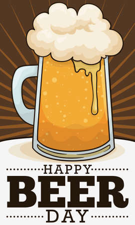 Commemorative poster with delicious frothy beer in a mug ready to celebrate Beer Day. Ilustração