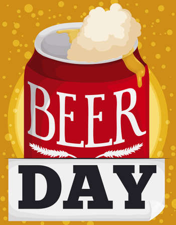 Delicious beer with a lot of froth coming out from the can, for Beer Day celebration with bubbly background.