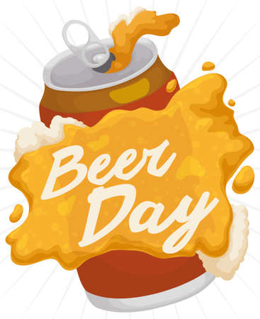 Poster with delicious beer spilled over the can and forming a greeting message for Beer Day celebration. 向量圖像