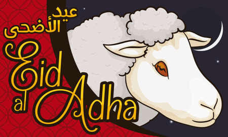 Banner with night view of a crescent moon and a sheep to celebrate the feast of Eid al-Adha (written in Arabic) or Festival of the Sacrifice. 일러스트
