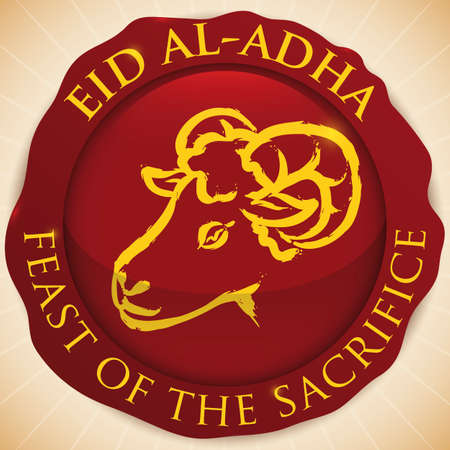 Round button covered with blood spot and ram draw inside of it to celebrate Eid al-Adha or Feast of the Sacrifice.