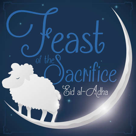 Cute sheep resting in the crescent Moon with a view of a starry night during Eid al-Adha or Feast of the Sacrifice.