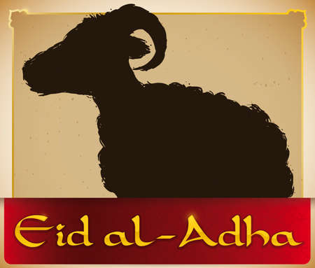Poster with and ancient scroll with ram silhouette in brush stroke style and red ribbon to celebrate Muslim Eid al-Adha or Festival of the Sacrifice.
