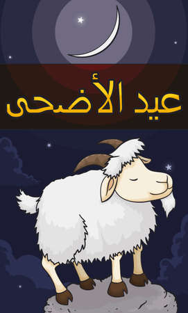 Serene goat standing in a rock enjoying the starry night of Eid al-Adha (written in Arabic) or Festival of Sacrifice. 일러스트