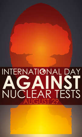 Commemorative design for International Day Against Nuclear Tests with atomic mushroom cloud inside nuclear bomb silhouette, showing the devastating effects of nuclear tests.