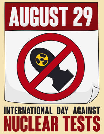 Loose-leaf calendar with banning signal and bomb silhouette inside, prohibiting atomic tests during International Day Against Nuclear Tests this 29th August. Illustration