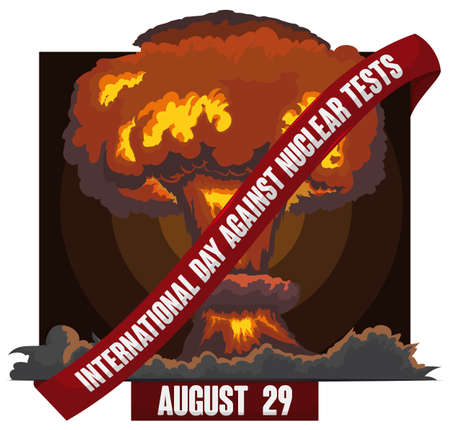 View of a atomic tests with a great, toxic mushroom cloud spreading in the field and label banning this terrible scene to commemorate International Day Against Nuclear Tests.