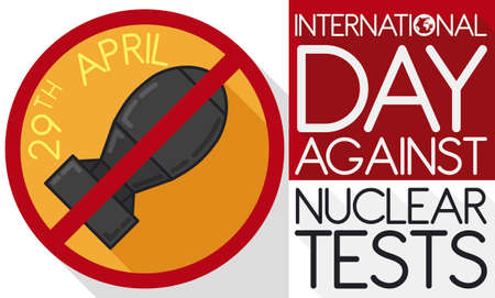 Banner with banning sign with bomb inside of it and reminder date for International Day Against Nuclear Tests this 29th August. Illusztráció