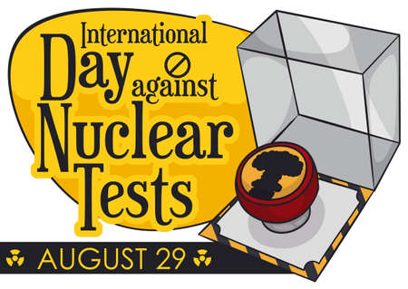 Design to promote awareness and efforts in the International Day Against Nuclear Tests with a nuclear button decorated with mushroom cloud, ready to be pushed.