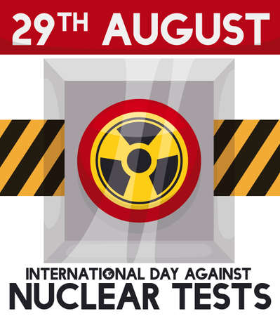 Nuclear button in its case with caution tape, warning at you the danger of atomic experiments during International Day Against Nuclear Tests commemoration in August 29. Ilustração