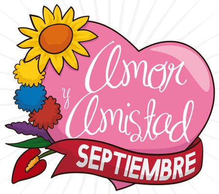Beautiful flower set with the colors of the Colombian flag in the pompoms, pink heart and ribbon to celebrate Love and Friendship Day (written in Spanish) in September.
