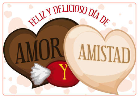 Delicious chocolates with heart shape and candy with greeting message to celebrate a happy Love and Friendship Day (written in Spanish).