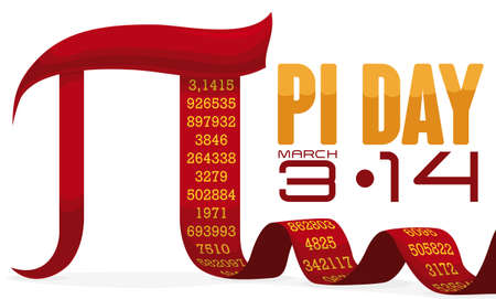 Banner with red pi symbol like a ribbon with its long numeric value and reminder date for Pi Day celebration un March 14. Çizim