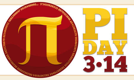 Banner with glossy red button, golden pi symbol inside and reminder date to commemorate Pi Day in March 14.