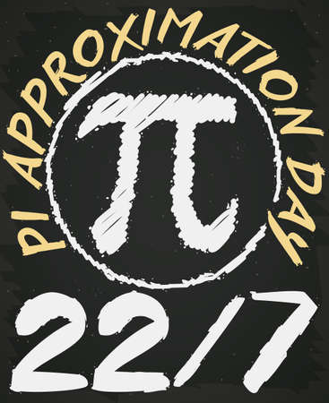 Chalk drawing over blackboard in math class with pi symbol and date like fraction to celebrate Pi Approximation Day on 22nd July.