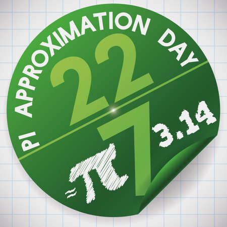 Rounded sticker for math notebook with the fraction formed by the date of Pi Approximation Day on 22nd July.