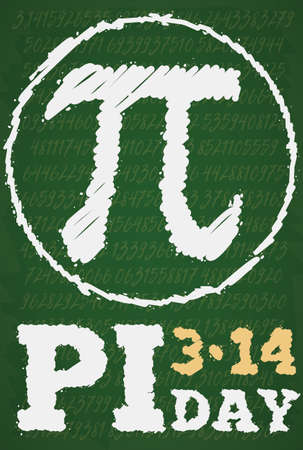 Chalkboard drawing with pi symbol over a circle and a long numeric series to commemorate Pi Day celebration in the school in the 14th March.