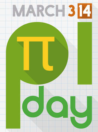Poster for Pi Day celebration in flat style and long shadow like a notebook paper with squared pattern with pi symbol. Illustration