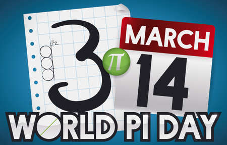 Banner with notebook paper, pi symbol and loose-lead calendar, all forming this value as reminder date for Pi Day celebration in March 14.