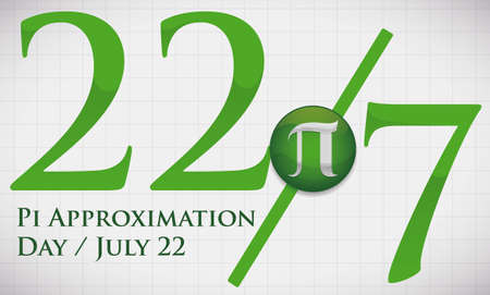 Banner for Pi Approximation Day with squared whiteboard and reminder date like the fraction and button with pi symbol to celebrate on 22nd July.