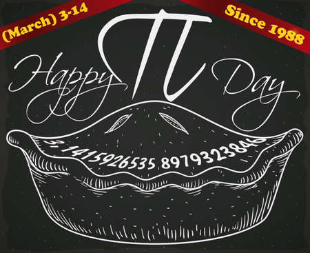 Hand drawn pie over a blackboard with ribbons and date for Pi Day celebration, a holiday celebrated since 1988 in March 14. Çizim