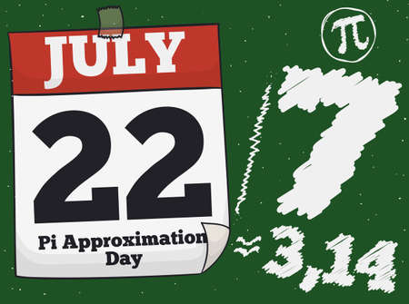 Loose-leaf calendar with reminder date over a chalkboard with the fraction, a pi symbol and the constant value to commemorate Pi Approximation Day on 22th July.