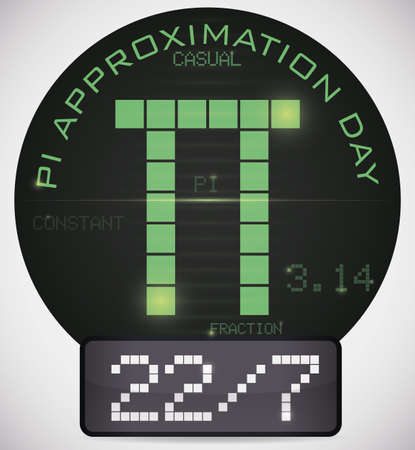 Digital round pin with the date like fraction and some information to celebrate in Pi Approximation Day on 22nd July.