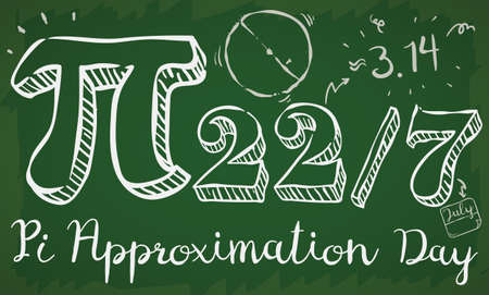 Banner of a math class with doodle drawings, date like fraction and giant pi symbol to commemorate on 22nd July the Pi Approximation Day.