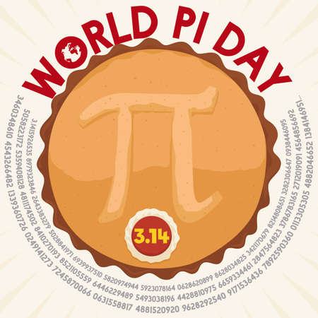 Poster with a top view of a delicious pie with a tasty button over cream with numeric value of pi and the commemorative date for World Pi Day celebration in March 14.
