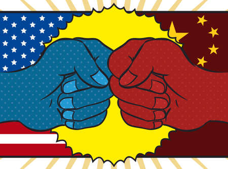 Pop art design with fists clashing over USA and China flags in the background representing the economic dispute between this powerful countries.