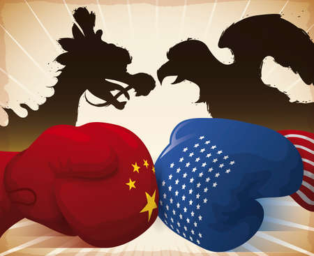 China boxing glove with dragon silhouette fighting against American glove with eagle silhouette during Trade War between this powers.