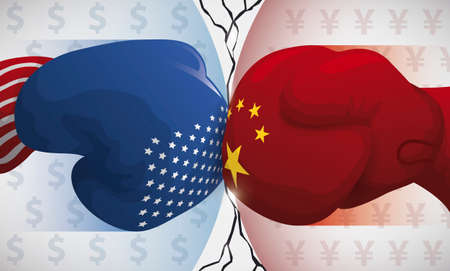 Banner with fierce punches between China and USA boxing gloves and terrible effects to global economy representing in a big fissure. Illustration