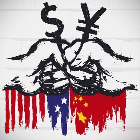 Wall with graffiti design: fists holding dollar and yuan symbols over China and USA flags, a representation and protest for high tariffs and tense relations due Trade War.