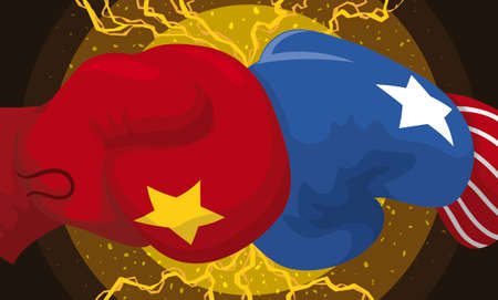 Boxing gloves punching each other causing friction and lightnings as the Trade War between China and USA Illustration