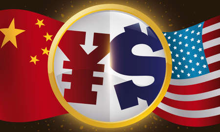 Round button with yuan and dollar symbol inside of it, China and USA flags waving for Trade War effects.