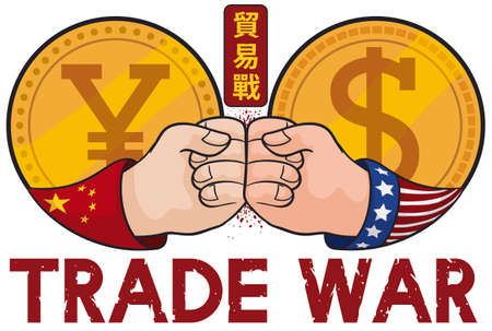 Coins with yuan and dollar symbols fighting each other with clashing fists due Trade War (written in Chinese calligraphy), between China and USA