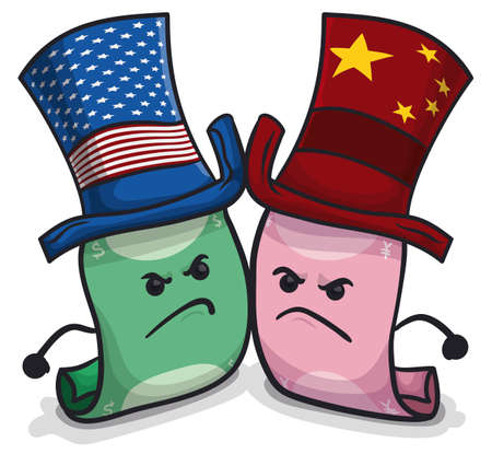 Angry green dollar banknote wearing USA hat ready to fight with a pink yuan banknote wearing a hat with Chinese flag design due tense Trade War between this powers.