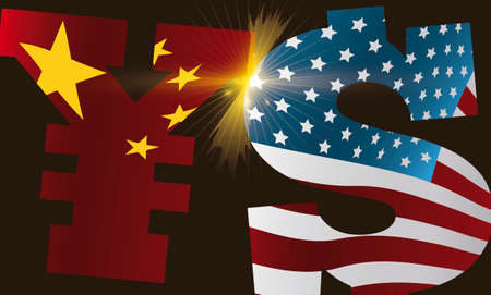 Yuan and dollar symbols with China and USA flags respectively clashing with glowing light representing the Trade War between these countries. Vektoros illusztráció