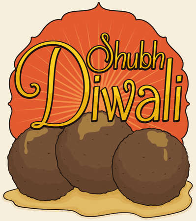 Poster with traditional delicious fried Gulab Jamun (solid milk fried balls soaked in syrup), with greeting message for a happy Diwali celebration.
