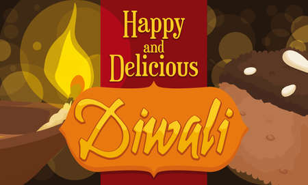 Banner with delicious chocolate Barfi dessert and lighted Diya to celebrate the traditional festival of the lights: Diwali. Stock Vector - 151829599